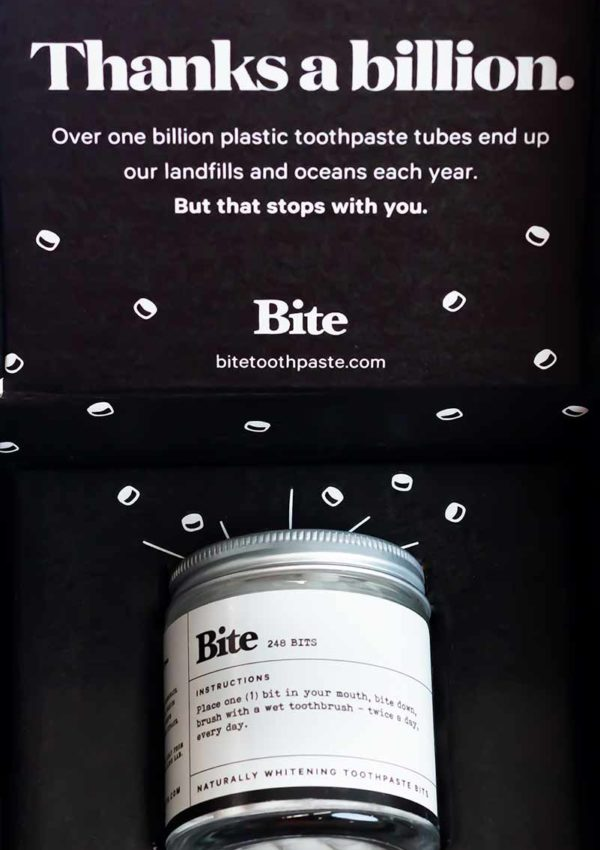 BITE ZERO WASTE TOOTHPASTE TABLETS COVER