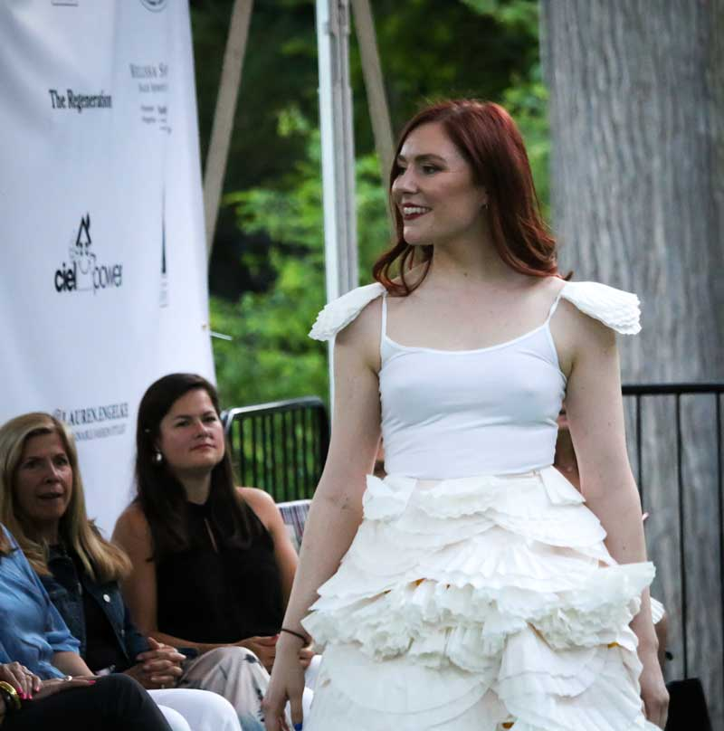 Coffee filter skirt at Style & Sustainability; a student-led sustainable fashion design competition.