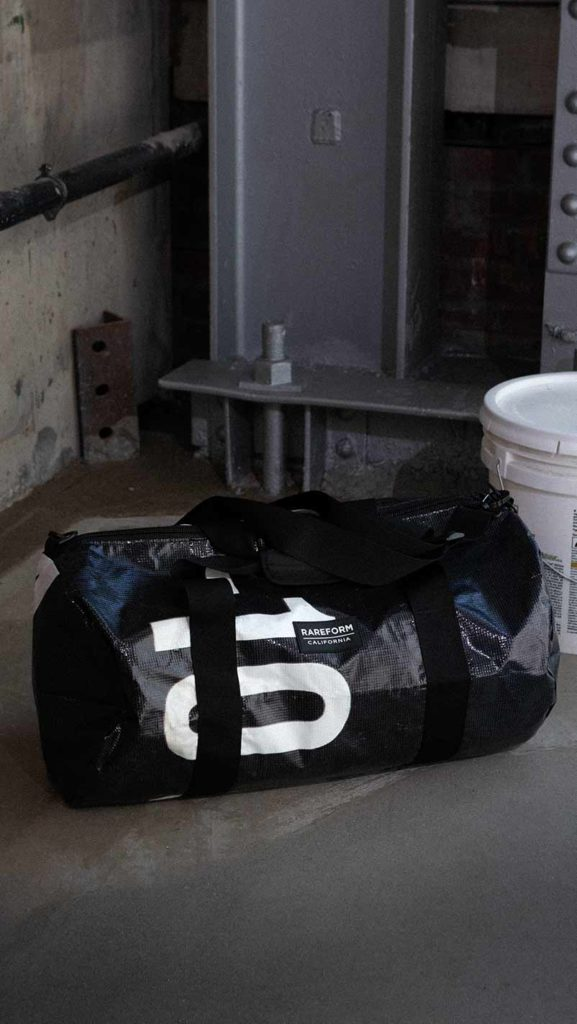 The Rareform Weekender Duffle, a Rareform repurposed bag.